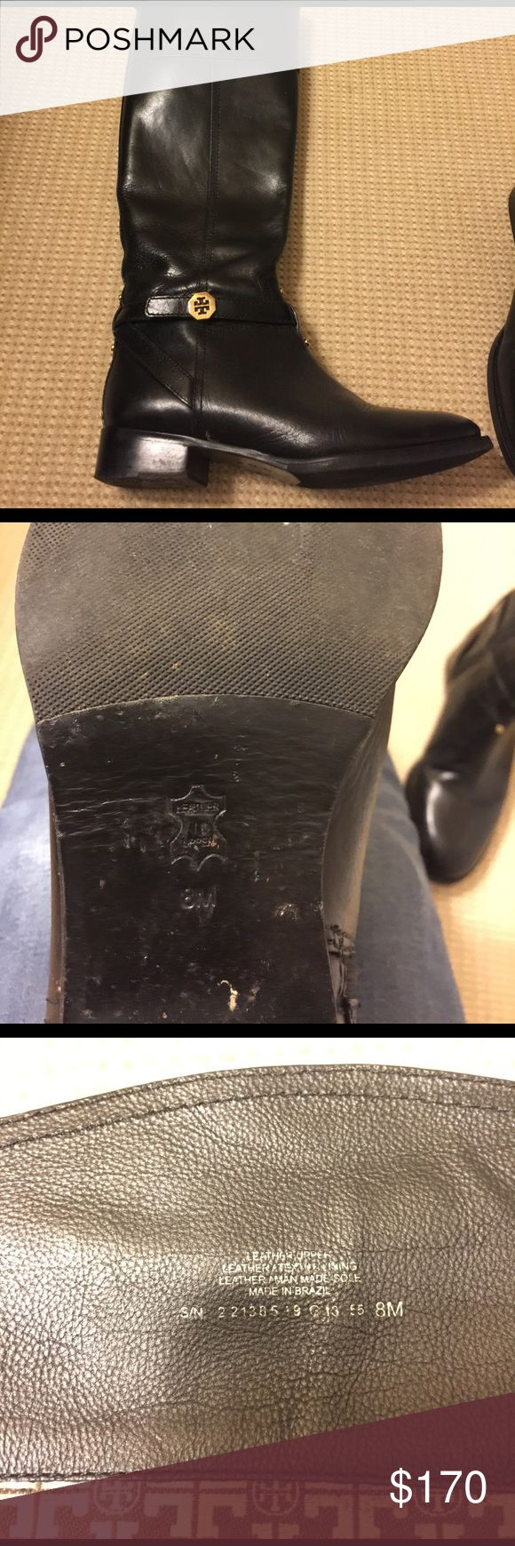 Tory Burch 8.5 black leather riding boot Hardly worn black riding boot Tory Burch Shoes Heeled Boots