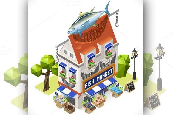 Fishmonger Shop City Building 3D - Illustrations - [Get into my new Isometric Fishmonger Shop City Building 3D Isometric and choose quality isometric fishes!]