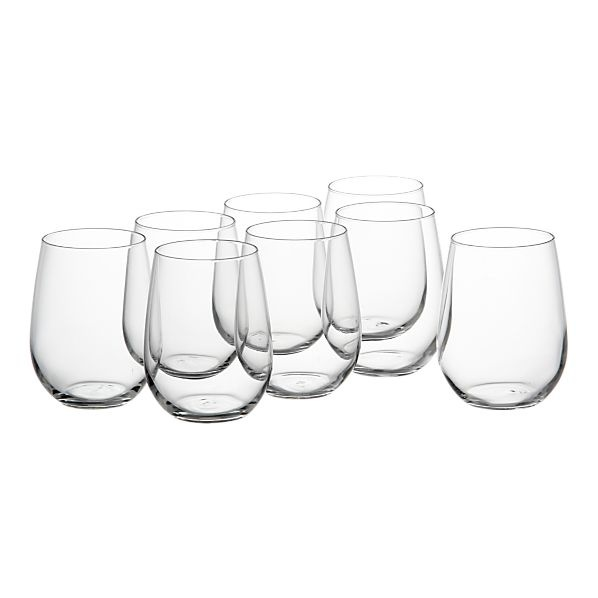 Stemless Wine Classes Set of Eight: Kitchens, Contemporary Glassware, Crateandbarrel, Stemless Wineglass, Wineglass Contemporary, Glasses Sets, Barrels 20, Crates And Barrels, Stemless Wine Glasses