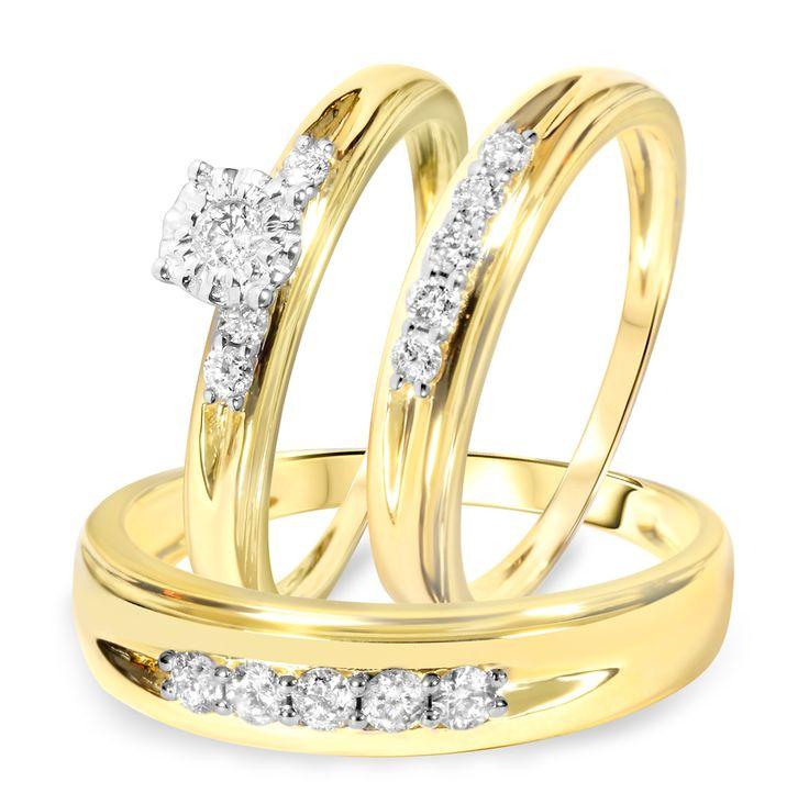 1/2 Carat Diamond Trio Wedding Ring Set 14K Yellow Gold