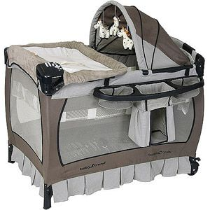 BEST playard EVER!  MP3 hook up, sounds, music, light, vibration, voice recorder; diaper and wipes, etc. holder; bassinet; changing station; hood; wheels....what more could you want?
