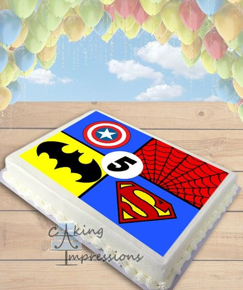 Superhero Symbols Edible Image Cake Topper [SHEET]