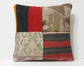 western throw pillow 16x16 embroidered pillow kilim pillow ethnic cushion cover DECOLIC wool cushion cover 40x40 large cushion cover 16038