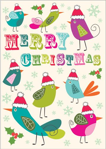 Festive Birds.  Embossing adds to this card's contemporary feel.