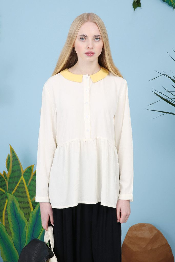 Contrast Collar Keyhole Smock Top