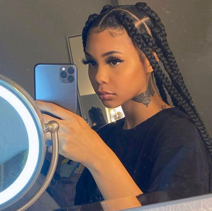 Big Box Braids Hairstyles, Quiff Hairstyles, Braided Hairstyles For Black Women, African Braids Hairstyles, Braids For Black Women, Braids For Black Hair, Retro Hairstyles, Relaxed Hairstyles, African American Braided Hairstyles