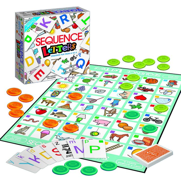 Players sound out the letter on their cards, match it to the beginning sound of a picture on the gameboard, then place a chip there. Each card features a letter of the alphabet in upper and lower case