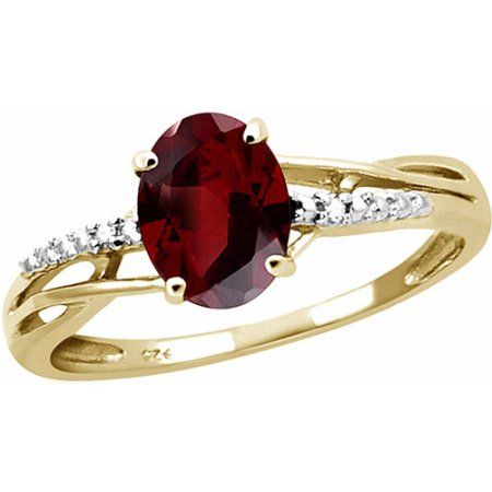 JewelersClub 1.60 Carat Garnet Gemstone and Accent White Diamond Ring, Women's, Size: 7, Gold
