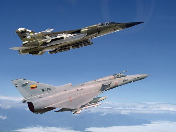 Ecuadorean Air Force IAI Kfir (front) and Mirage F1.