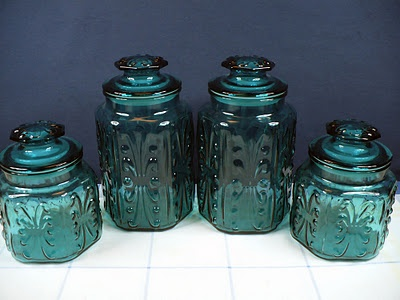 Vintage teal green aqua blue glass canister set antiques upcycling pinterest jars - Blue glass kitchen canisters ...