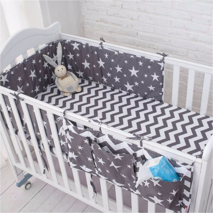 Grey Star Bedding Set,Multi-functional Baby Safe Sleeping Baby Bed Bumpers Set Soft Baby Cot Bed Hanging Storage Bag