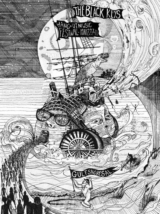 Black Keys festival design poster, competition entry; didn't win but still think it's awesome! Black pen and ink.