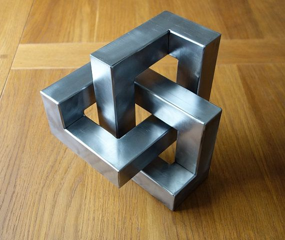Metal trefoil sculpture – Optical illusion metal art and cool home decor gift handmade from steel