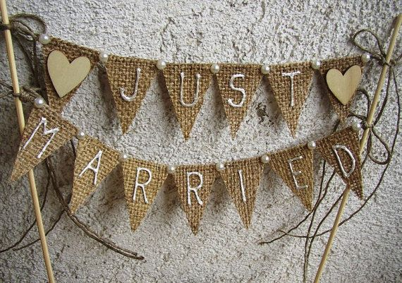 I wonder if I can make this myself: Just Married Rustic Cake Topper Banner  Hessian by FloroMondo