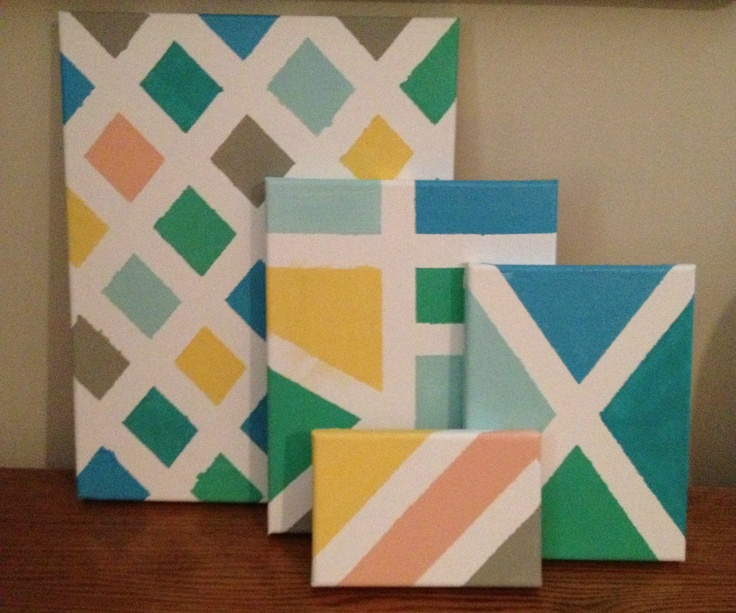 Easy geometric canvas art i do wish the painters tape for Geometric paint designs