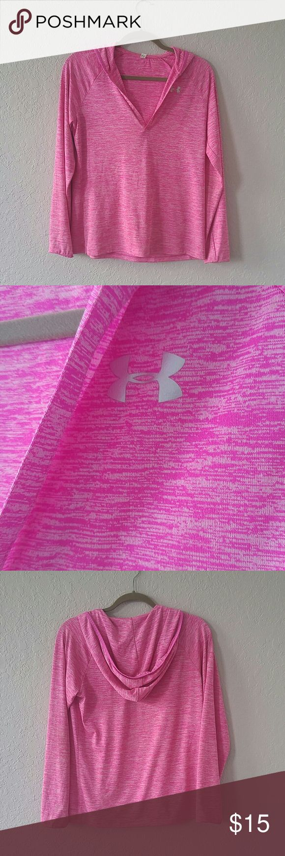 Under Armour Tech Twist Hoodie Size small No flaws as I only had it a month into my pregnancy and only got to wear it once.  Color is pink shock Under Armour Tops Tees - Long Sleeve