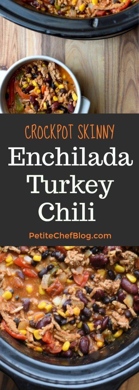 Skinny Enchilada Turkey Chili | Easy and healthy chili recipe with a fun twist! | PETITECHEFBLOG.COM