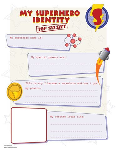 SH identity printout for making your own superhero. great party activity