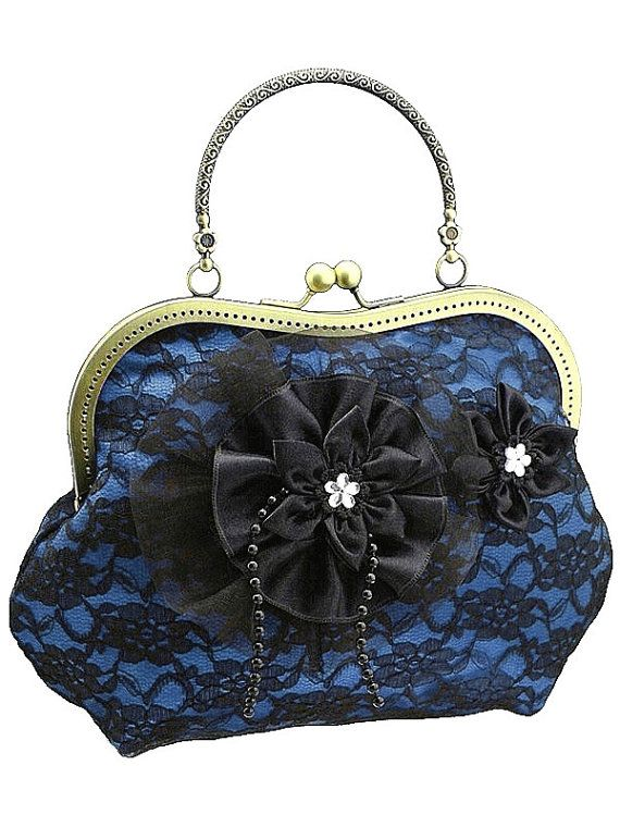 blue and black handbag formal or vintage style by FashionForWomen
