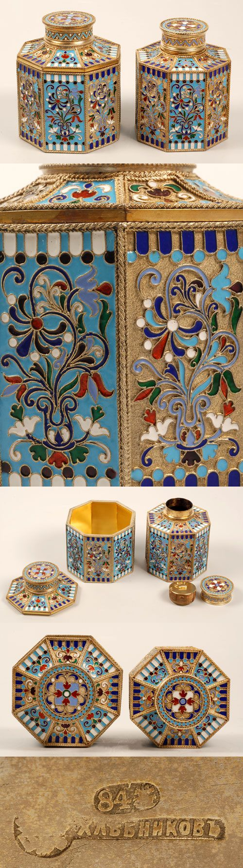 A Russian silver gilt and cloisonne enamel tea caddy and sugar box, Ivan Khlebnikov, Moscow, late 19th century. The octagonal containers decorated in panels of multi-color scrolling foliate and floral designs alternating between a turquoise enamel ground and a stippled gilded ground between enameled geometric borders.