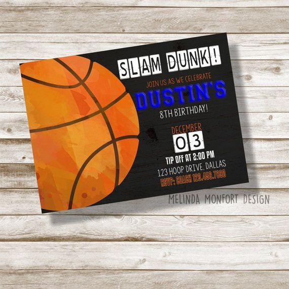 Slam dunk! Basketball birthday invitation.  Birthday invitation.  Basketball party.  Basketball invite.  Birthday party.  Basketball.  Shop small.  Etsy shop.  Invitations.  Printables. Digital art. Graphic design.  Hey, I found this really awesome Etsy listing at https://www.etsy.com/listing/478984908/basketball-birthday-invitation