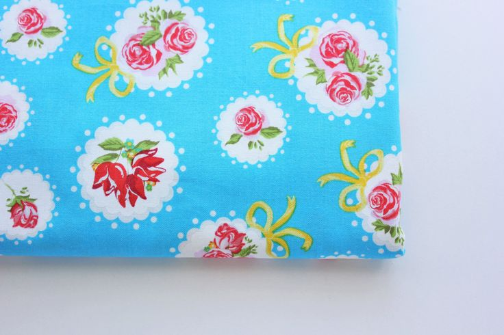 Vintage Fabric / Floral Fabric / Rose Fabric / Cotton Fabric / Retro Blue / Medium Pink & Red Rose / Sewing Quilting Patchwork / Half Metre by TCRFabricStore on Etsy