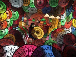 Burmese Girl with Parasols.