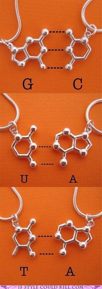 Designed by Etsy user molecularmuse DNA/RNA base pair friendship necklaces! Via the seller:  A (adenine) pairs with T (thymine) and G (guanine) pairs with C (cytosine). In RNA, G pairs with C and A pairs with U (uracil). Proteins, lipids, carbohydrates, DNA, and friendship. All essential for human life.