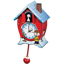 Bring home the magic of A Charlie Brown Christmas for the holidays with this delightful cuckoo clock. At the top of every hour, Snoopy appears from behind the doors, and the classic theme song plays!