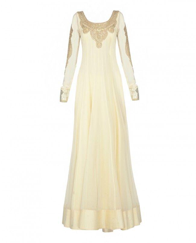 Ivory Anarkali Dress with Gota Work - Apparel