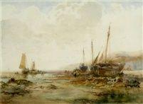 Albert Pollitt - Fishing boats Castleton Isle of Man 1909, 10 x 13.75 in. (25.4 x 34.9 cm.)