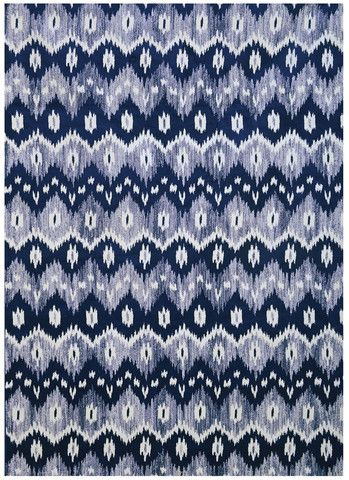 Navy Blue And White Ikat Pattern Area Rug Bump