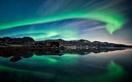 Het blauwgroene auroralicht
