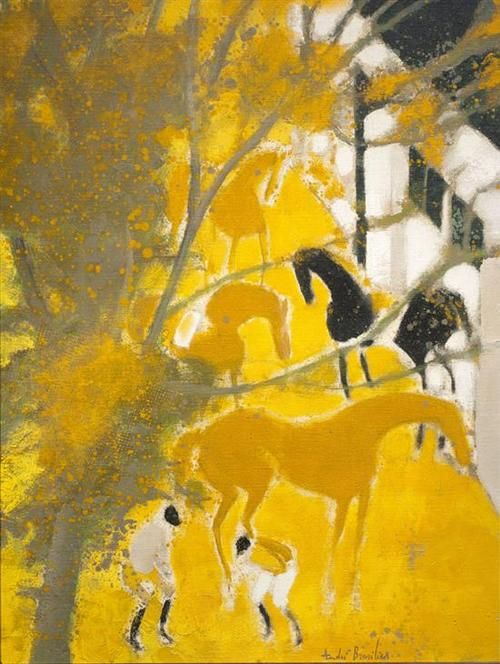 Andre Brasilier (French, born in 1929) - Horses at Loupeigne