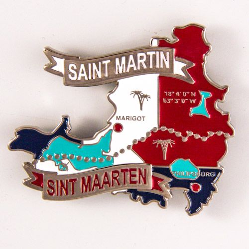 Metal Fridge Magnet: Maps of Saint-Martin and Sint Maarten (Nickel Plating and Enamel)