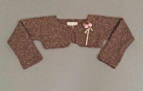 Chaqueta torera de punto marrón jaspeado mezcla de lana