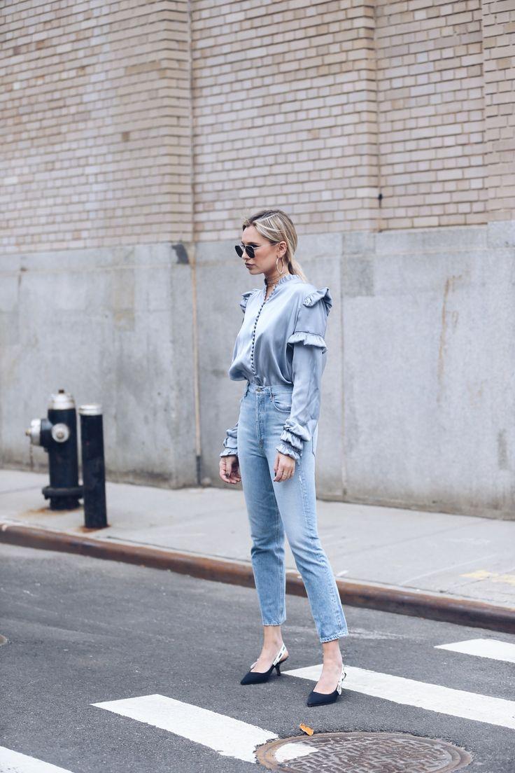 Wearing:Agolde Jeans   Magda Butrym Blouse  Dior Heels Shop Similar Looks Below: