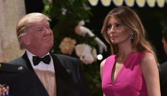 President Trump reigns over royal-themed fundraising gala at Mar-a-Lago:  February 5, 2017  -     President Trump and first lady Melania Trump arrive for the Red Cross Gala at his Mar-a-Lago estate ... - Provided by WP Company LLC d/b/a The Washington Post