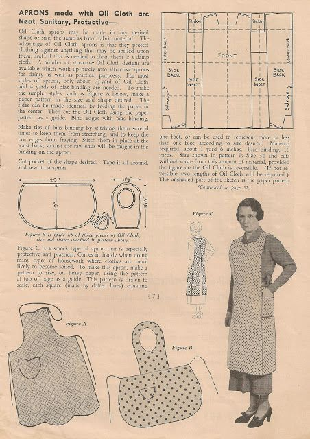 Vintage Apron Patterns | This half apron would be perfect for either crafts or gardening. The ...