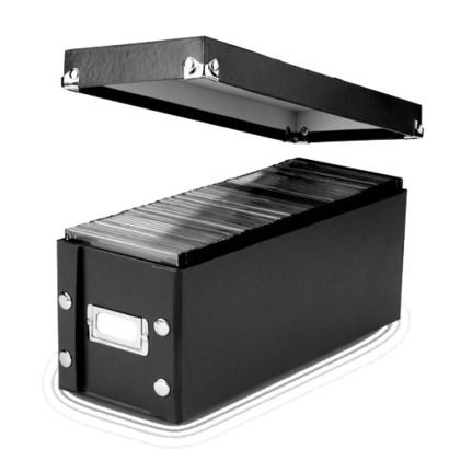 Vaultz Black 2-pk. CD Storage Box instead of having a whole bookcase full of DVD cases