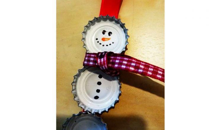 Kronkorken Schneemann von Pinterest