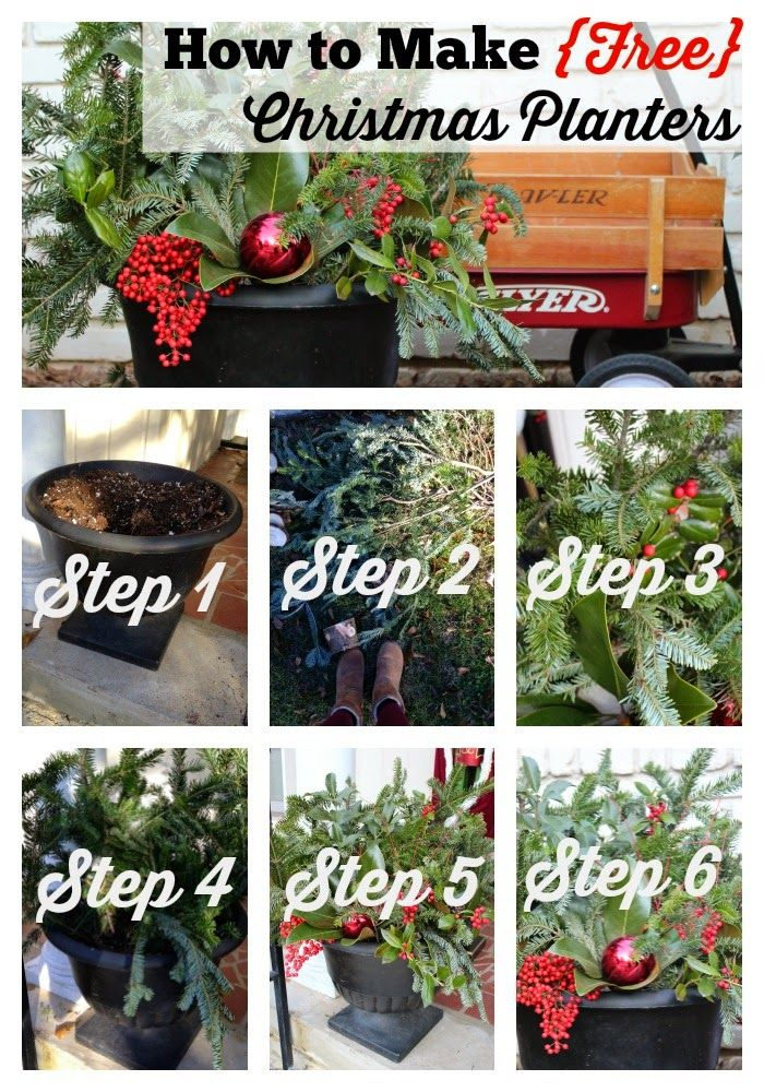 How to Make Free Christmas Planters Tutorial - Six Easy Steps