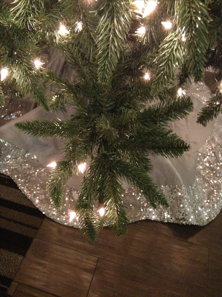 Sequin tree skirt, silver tree skirt