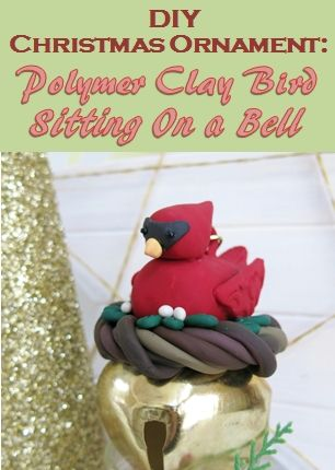 DIY Christmas Ornament:  Polymer Clay Bird Decoration With Bell