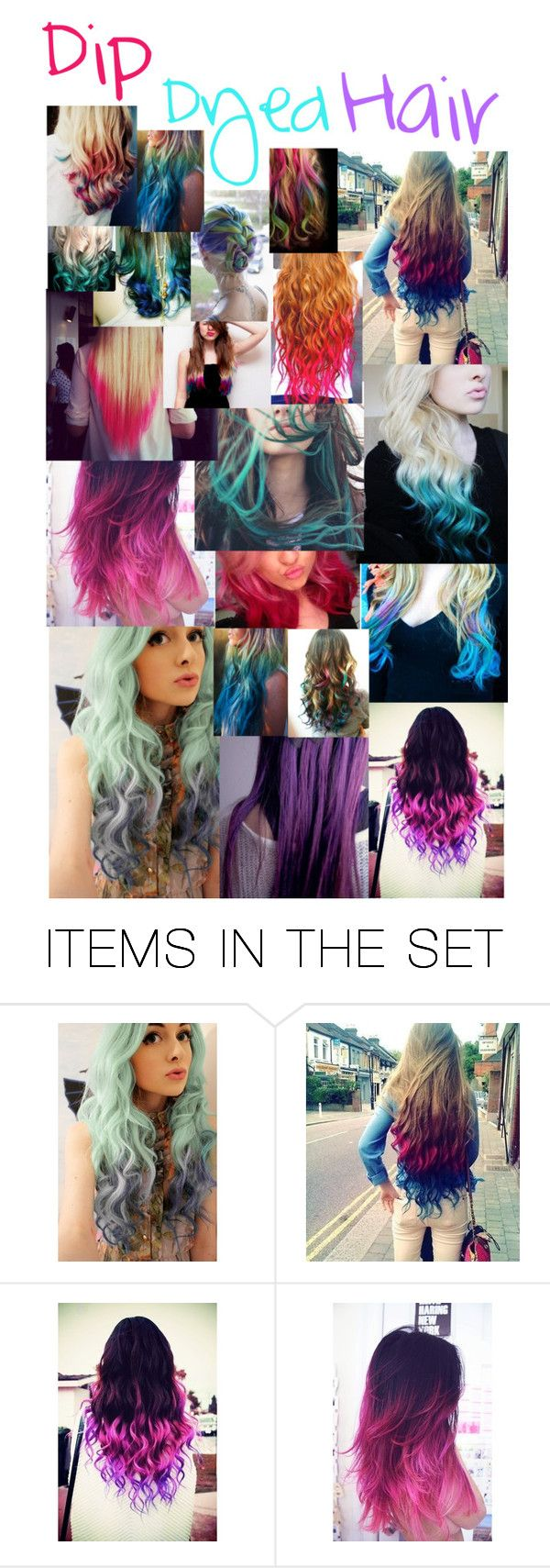 """Dip-Dyed Hair!"" by m-ballard ❤ liked on Polyvore featuring art"