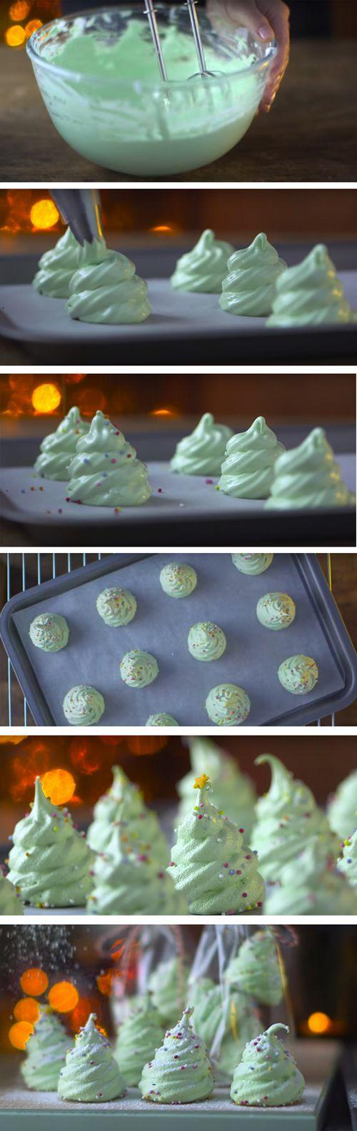 Christmas tree meringues make adorable edible gifts and take no time to make.