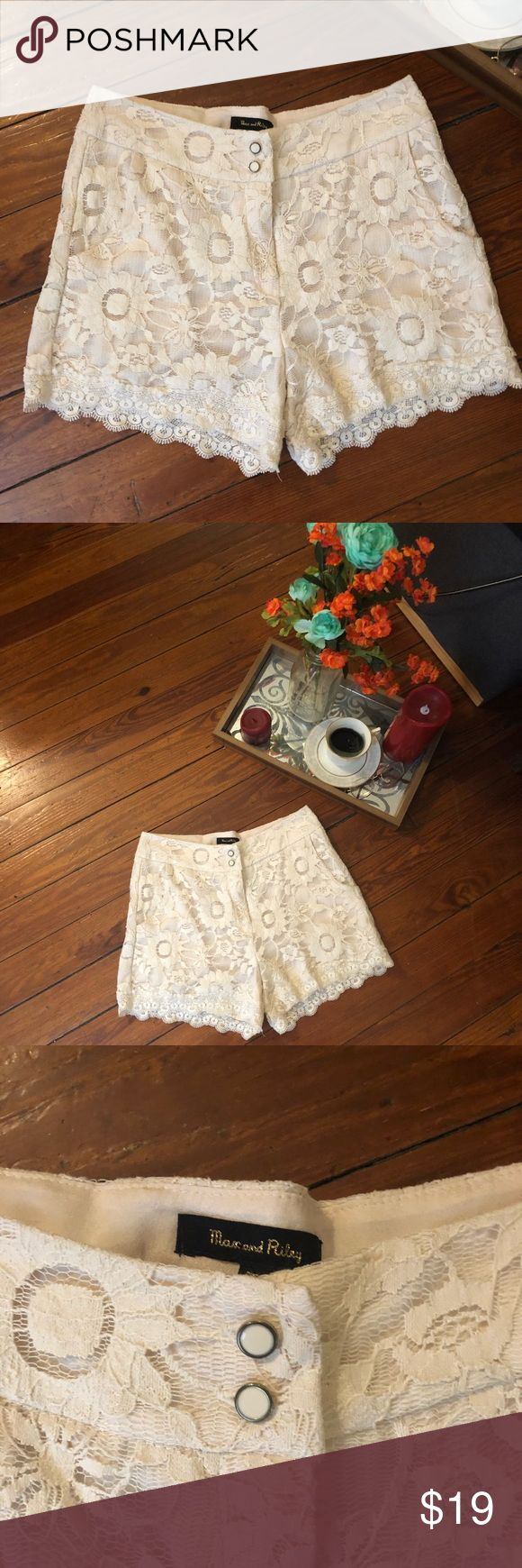 """Max & Riley Sz m cream lace scalloped shorts This is for a gorgeous pair of cream lace shorts in a size medium. They are practically new. No sign of wear. These have a great high waist. Pockets ✔️. Waist 28"""", hips 34, inseam 11"""". max & Riley Shorts"""