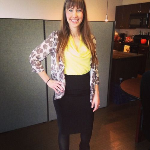 """Our Rachael, Austin Training Director, in our #ootd #businessprofessional #lincolnpropcostyle and she quotes """"Also, nothing I am wearing is from Gucci - I actually got my entire outfit at Goodwill! #ballinonabudget   Leopard top- Chicos  Yellow scoop neck- Banana Republic  Pencil skirt- White House Black Mkt Ankle Booties- Steve Madden Smile- Glamour Shots"""" #glamourshots"""