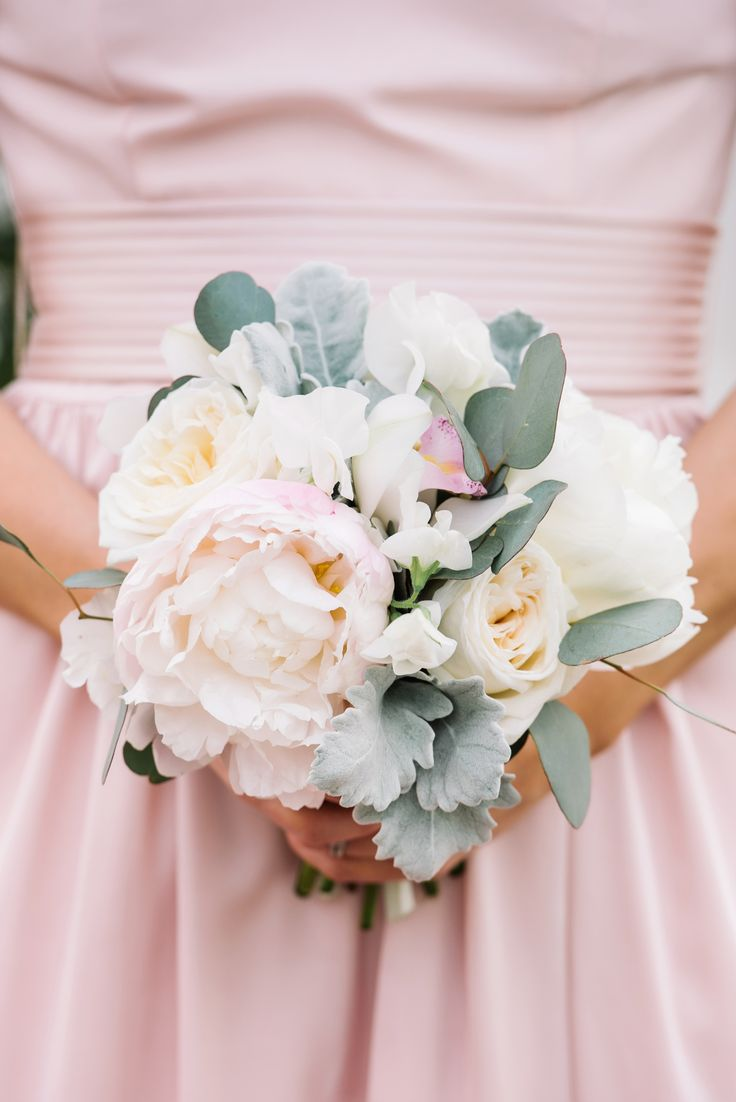 Pale pink peony, white roses, eucalyptus leaves, bridesmaid bouquet // Dear Wesleyann Photography
