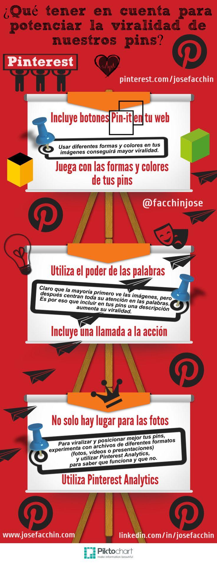 #Infografia ¿Cómo diseñar Pins más virales para nuestro #Pinterest? #RRSS #SocialMedia #RedesSociales
